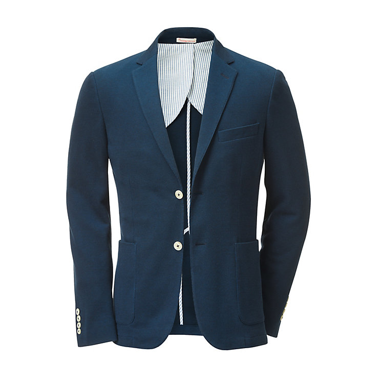 Knowledge Cotton Apparel Piqué Blazer Dark blue