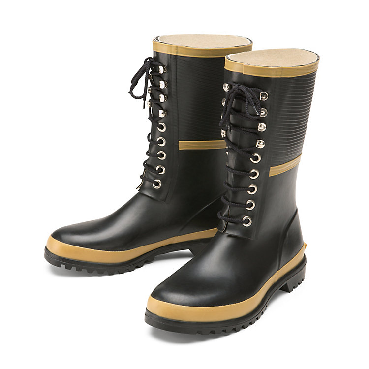 Lace-up Rubber Boots Black