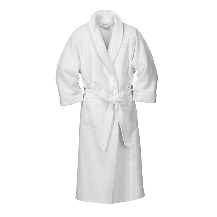Ladies Honeycomb Piqué and Terry Dressing-gown, White