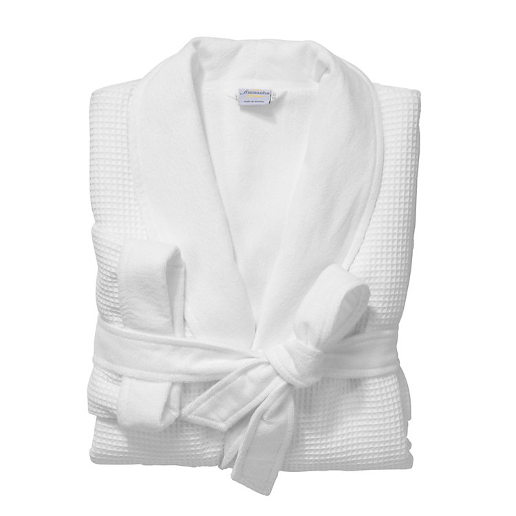 Ladies Honeycomb Piqué And Terry Dressing Gown White Manufactum