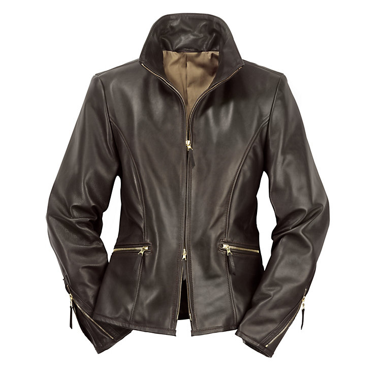 Ladies' Horse-Hide Leather Roadster Jacket, Black/Brown