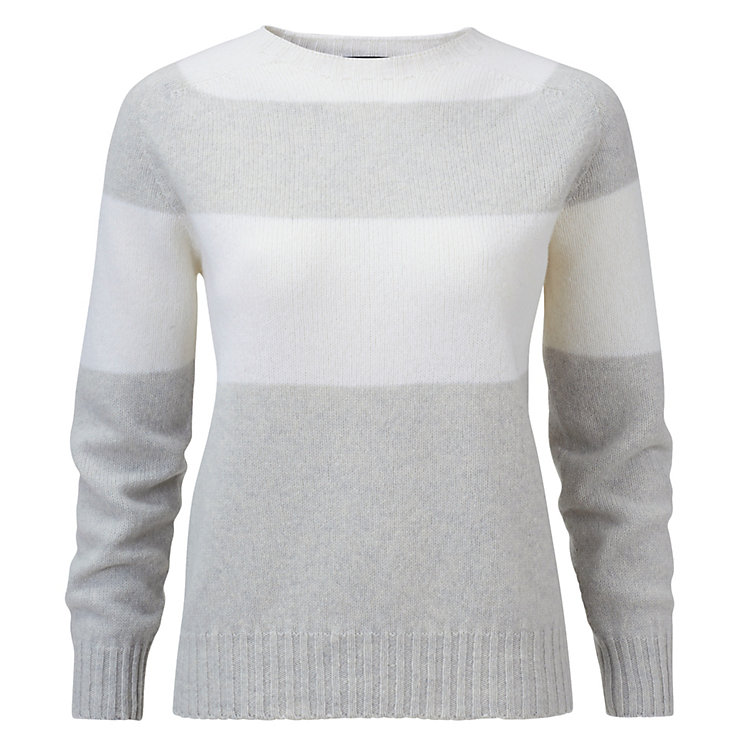 Ladies Lambswool Pullover Grey/White