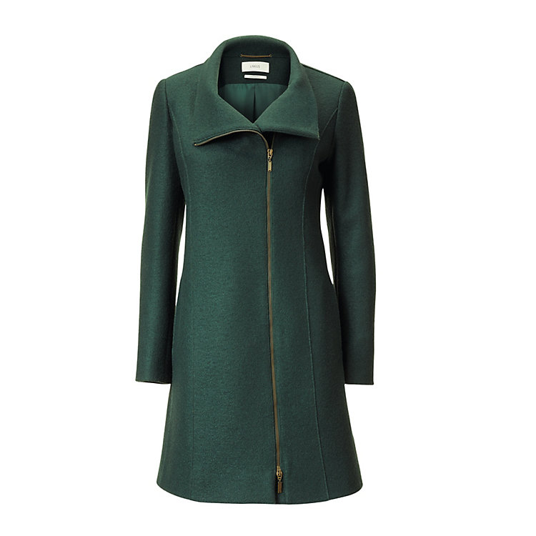 Lanius Asymmetrical Pure New Wool Coat Dark green