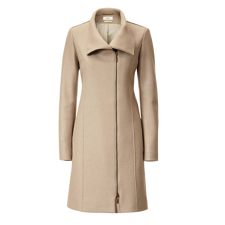 Lanius Asymmetrical Pure New Wool Coat Sand