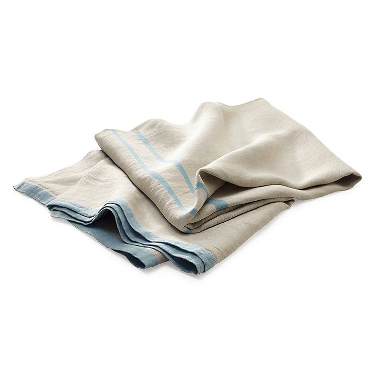 Large linen towel Natural coloured Blue