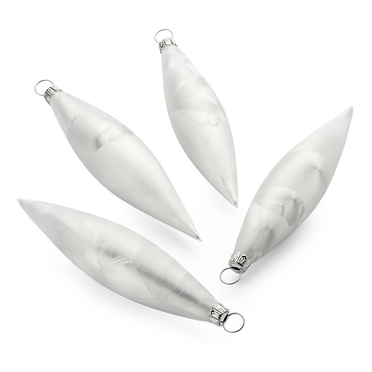 Lauscha Olives with White Ice Finish (4 Items)