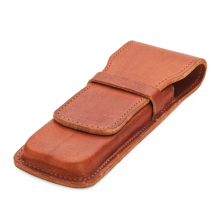 Leather Double Pen Case Natural