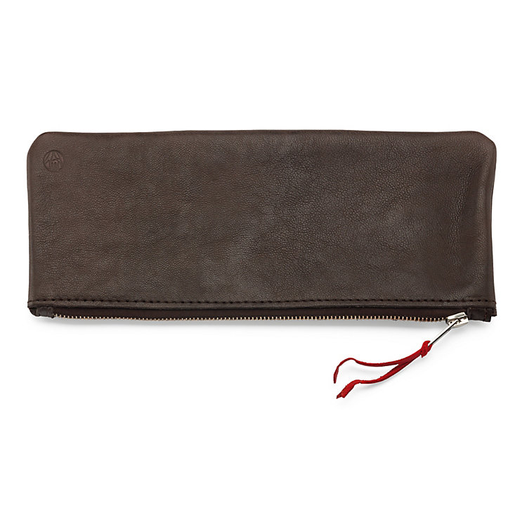 Leather Etui Supercourse Small Dark Brown/Red