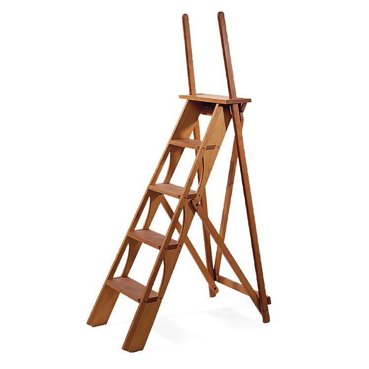 Library ladder with handle