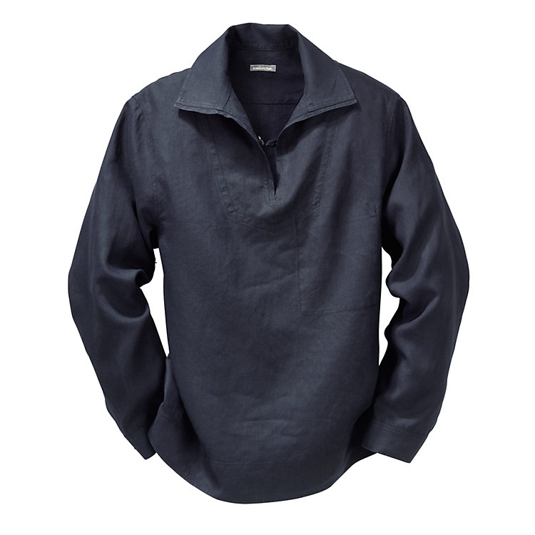 Linen Fisherman's Shirt, Blue