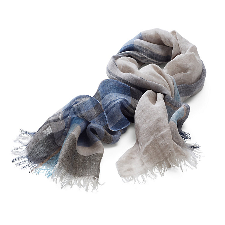 Linen Scarf, Blue Checks