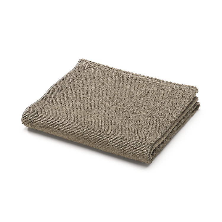Linen Terry Face Towel, Black/Natural