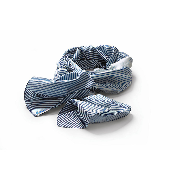 Living Blue Silk Scarf Blue and white