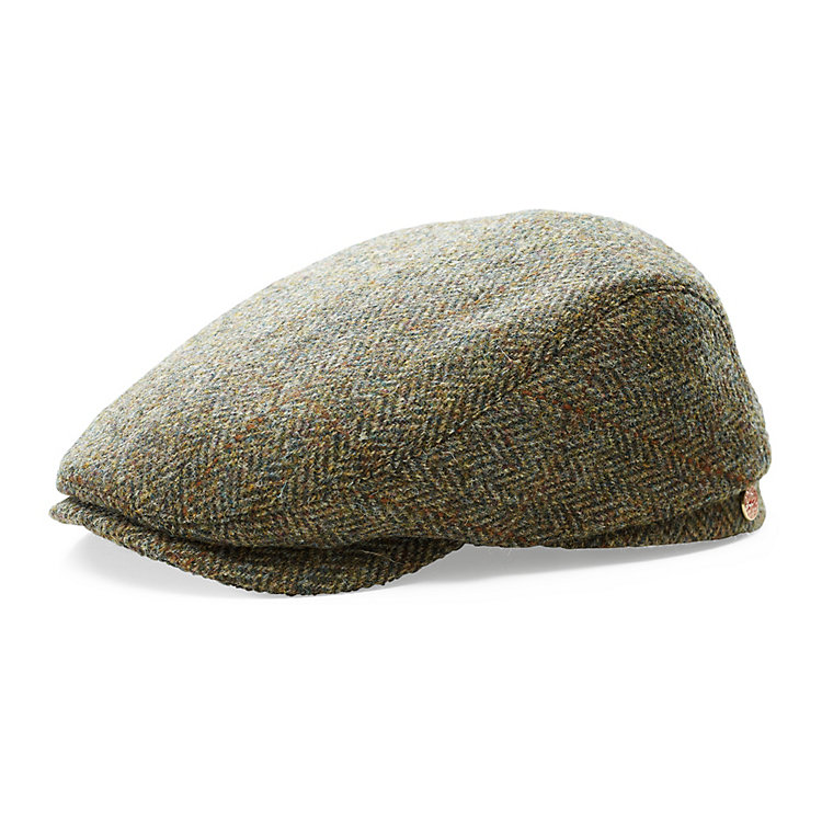 Mayser Herrenmütze Harris-Tweed Braunmelange