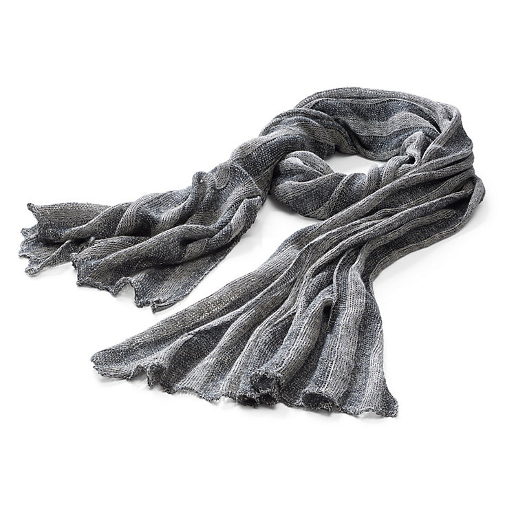 McKernan Linen Scarf with Stripe Pattern Anthracite-Grey