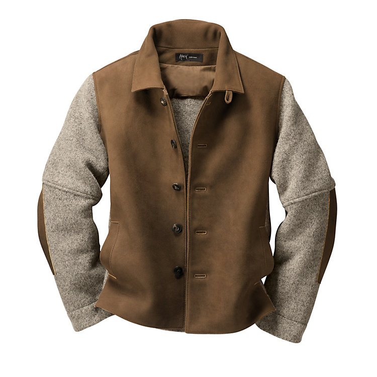Men's Chamois Tanned Deer Leather and Boiled Wool Jacket Brown