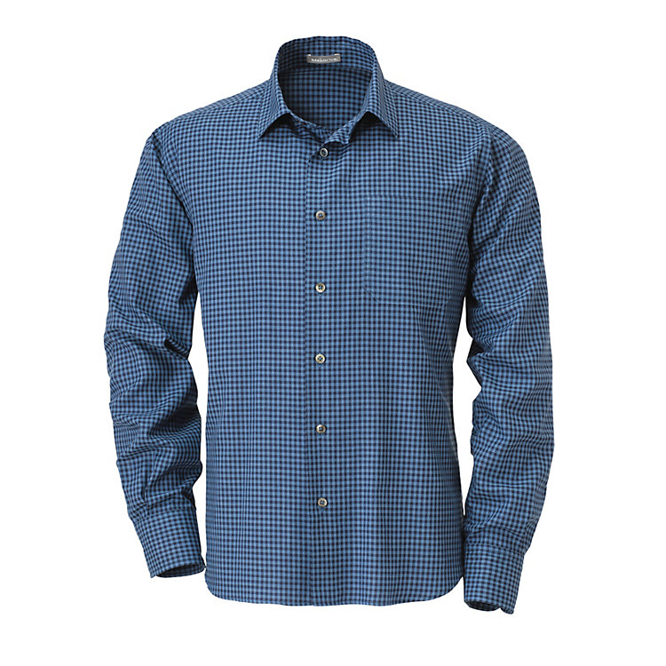 Men's Cotton Shirt with Gingham Checks Blue
