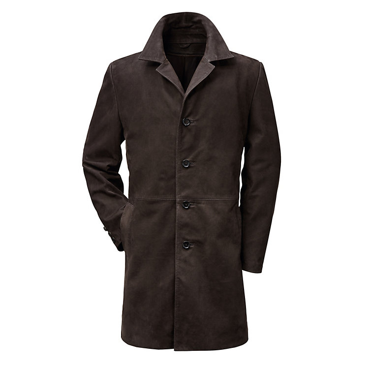 Men's Cow Nubuck Leather Coat Dark brown