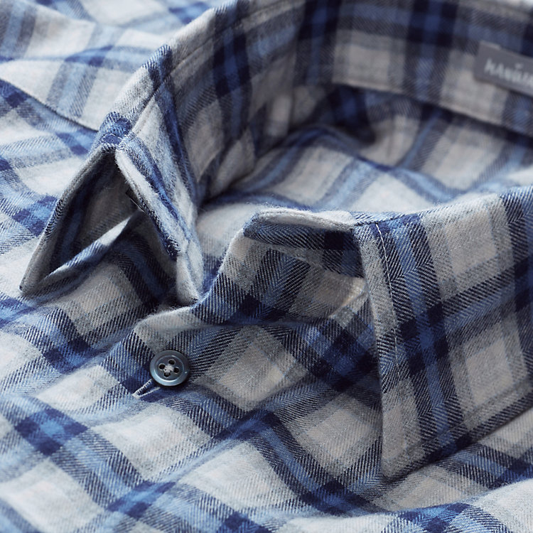 Men's Flannel Shirt with Checked Pattern Blue-grey