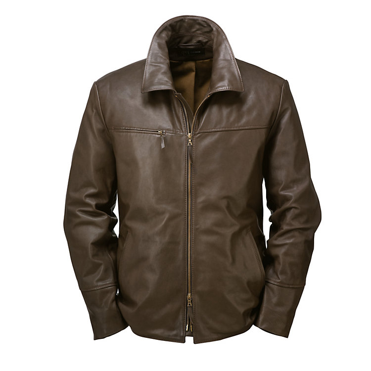 Men's Hack Cowhide Jacket, Dark Brown