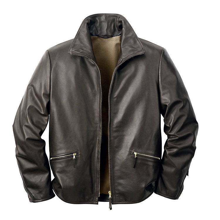 Men's Horsehide Roadster Jacket, Black-Brown