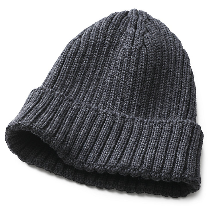 Men's Knitted Cap with Turn-Up Anthracite