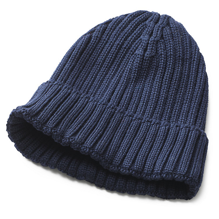 Men's Knitted Cap with Turn-Up Blue