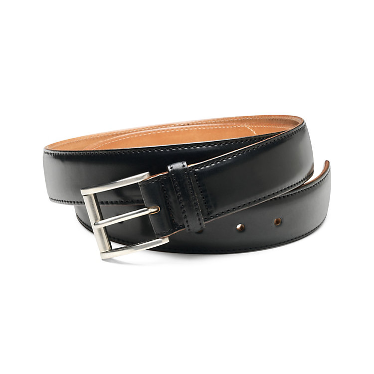 Men's Narrower Horse Leather Belt, Black