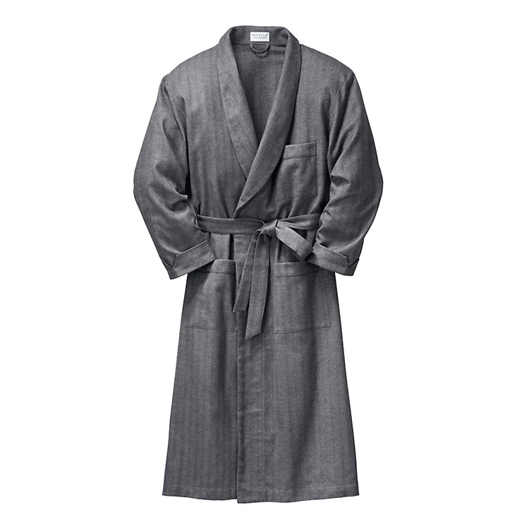 Men's Novila Flannel Housecoat, Anthracite