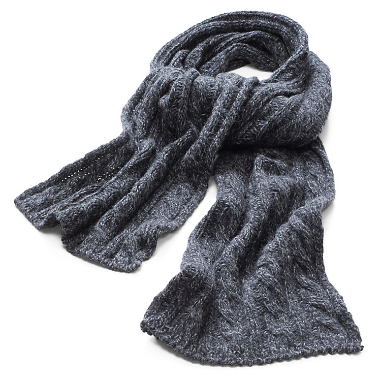 Men's Scarf with Cable Stitch Anthracite Mélange