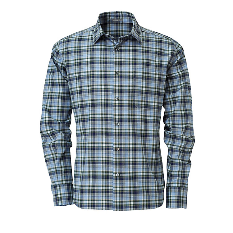 Men's Shirt Napped Cotton Blue-Green