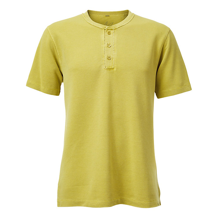 Men's T-shirt with Button Placket Green