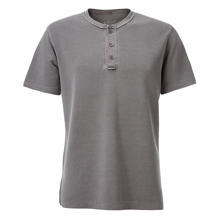 Men's T-shirt with Button Placket Taupe