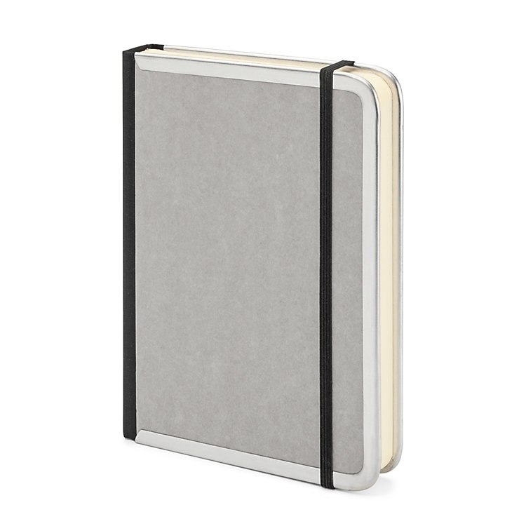 Metal Edged A6 Notebook Blank Grey