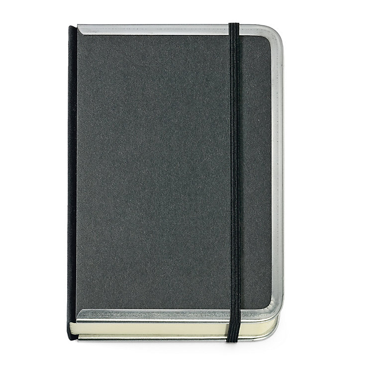Metal Edged A6 Notebook Lined Black