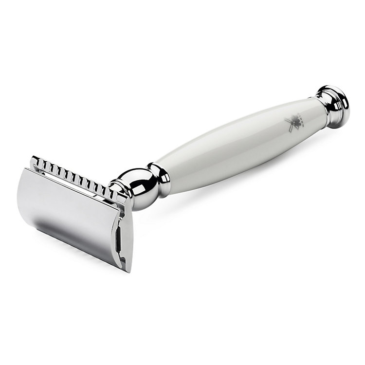 Mühle Safety Razor, Handle made of white porcelain and chromed brass