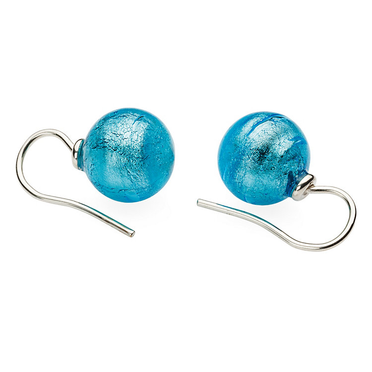 Murano Glass Earrings, Aqua