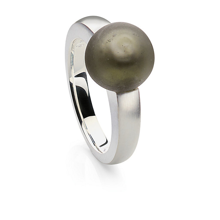 Murano Glass Silver Ring with Matt Grey Glass Bead 17 mm