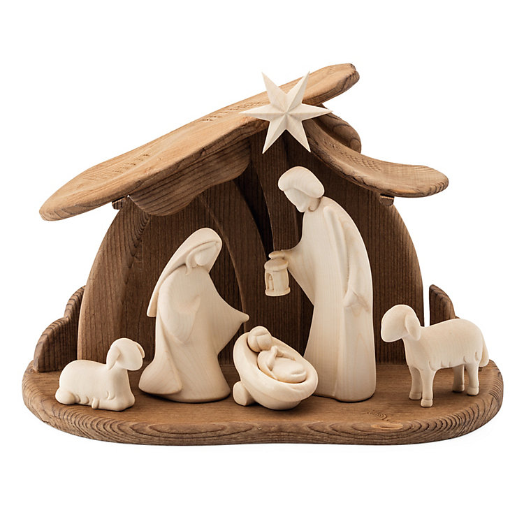Nativity Scene Hand Carved from Maple and Walnut Wood