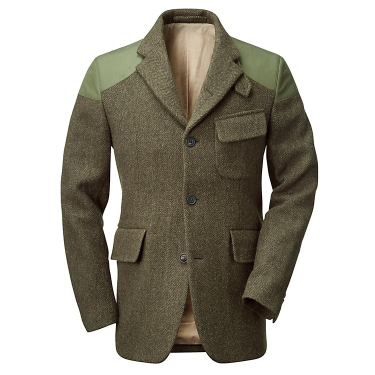 Nigel Cabourn Herrenjacke Harris-Tweed, Oliv