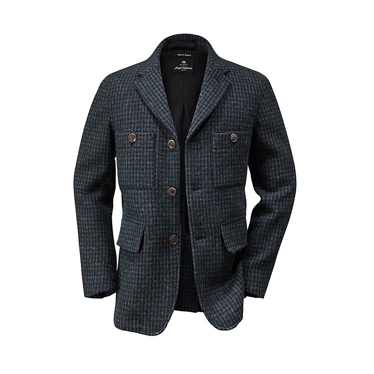 Nigel Cabourn Men's-Hound's Tooth Jacket Dark blue-Anthracite