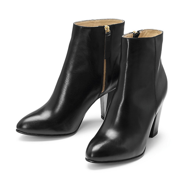 Nine to Five Ladies' Calfskin Ankle High Boot Black