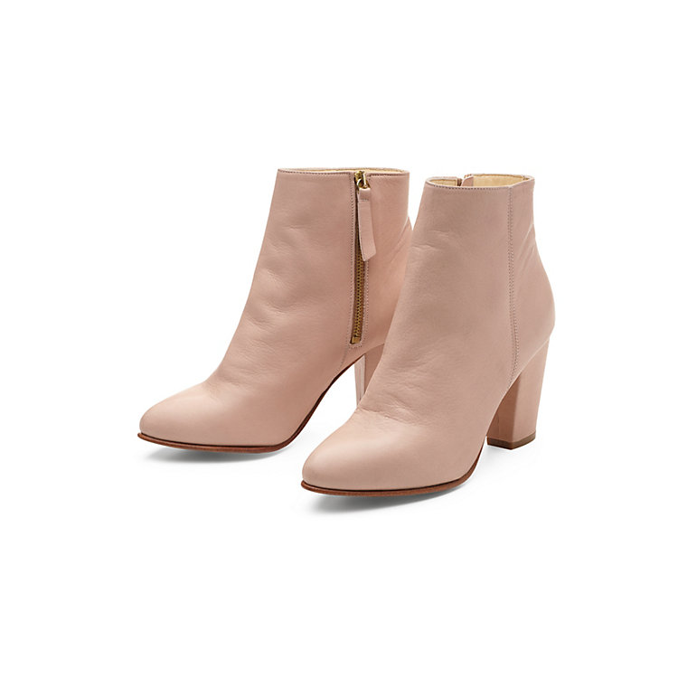 Nine to Five Ladies' Calfskin Ankle High Boot Powder