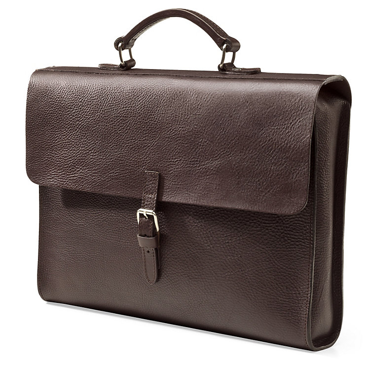 Notebook Briefcase Cowhide Leather Dark brown