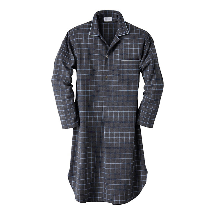 Novila Men's Flannel Nightshirt, Mixed Gray