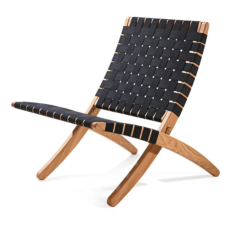 Oak Folding Chair Black