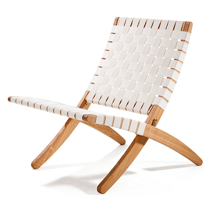 Oak Folding Chair, White