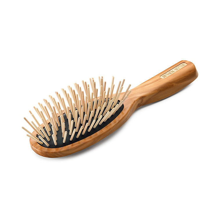Oval Olive-Wood Hairbrush with Wooden Pins