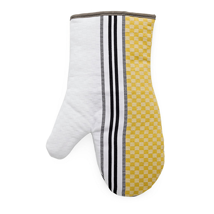 Oven Glove Chequers White and Yellow