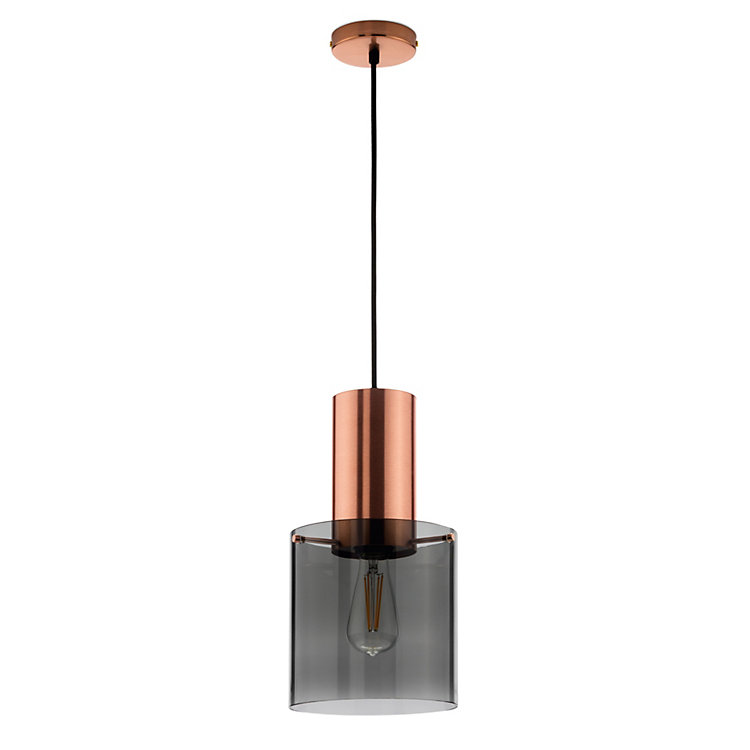 Pendant Luminary with Copper and Smoked Glass, Large